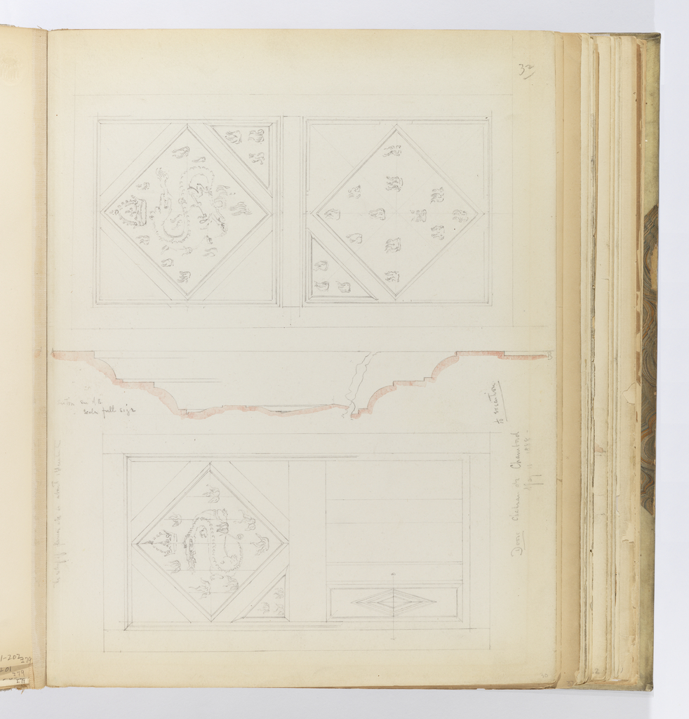 Horizontal sheet tipped vertically into binding depicting a view of the front and back of a wooden door with a profile of one of its diamond-shaped panels in the center of the sheet.  At left and right are the back and front of the door, respectively.  The upper section of the door shows a recessed diamond frame on which is the serpentine figure of a dragon breathing fire and surrounded by small flames with a crown suspended in the air above its head.  On the front of the door, the dragon faces the right; on the reaf of the door, the dragon faces to the left.  the lower half of the front door has another diamond-shaped panel that mimicks the one above, and scattered within it are more small flame carvings.  Raised, lozenge-shaped panels dominate the lower half of the door at left.  One lozenge has been drawn and is crossed by a line AB.  This line is drawn again in the center of the sheet and is the molding profile of the lozenge carving.