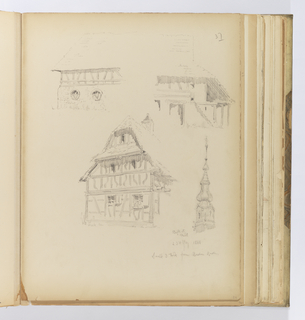 Vertical sheet depicting four sketches of buildings or architectural elements.  The upper half of the sheet has two views of a half-timbered building.  The left drawing shows the building with a masonry first story and half-timber and plaster above.  At right, possibly the same building from the rear. Below is another half-timbered building seen from a three-quarter view.  It has timbering that alternates between straight timbers and those have been carved into an S-shape.  Above is a deep overhang and steep tiled roof.  At right is the steeple of a bell tower, consisting of  a trio of graduated onion domes, and a small finial.