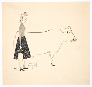Drawing, Girl with Milking Pail and Cow