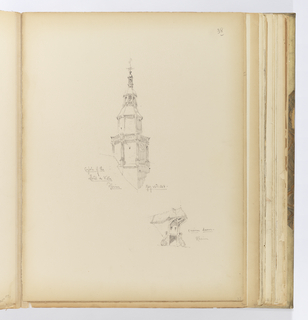 Vertical sheet illustrating two sketches of architectural elements.  In the center is the clock tower of the Hôtel de Ville (city hall) of the town of Reims, seen from the south.  The octagonal tower rises from the roofline with multiple graduated arcaded cupolas and is topped by a finial with weathervane.  At bottom right is an unusually intricate dormer.  The dormer projects out from the roof ending in a circle. Underneath this small dome is carved and pierced wood, similar to flamboyent Gothic tracery.  The window opening is framed by two scrolling brackets on either side of the window frame.