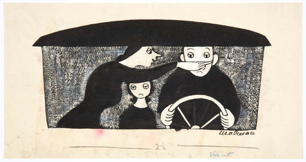 Scene through the windshield of a car, with roof atop. Father at the wheel, right. His wife, left, is pointing right, across his face. Young girl forwning between them.