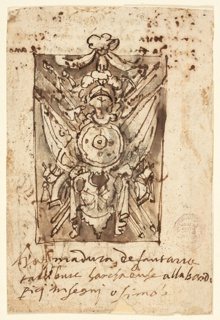 Vertical rectangle. Verso: a military trophy with coat-of-arms for infantry, pistols, guns and picks. Recto: Inscription.