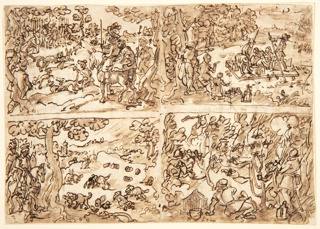 Recto: Four scenes, upper left, hunting rabbits with leopards, lower left, hunting rabbits with dogs; upper right, fishing; lower right, trapping birds. All designs for the Venationes series. Verso: above, fifteen lines of inscription in the hand of Luigi Alamanni, relating to prints in the Nova Reperta series; below, plan of walled city.