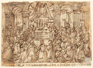Horizontal rectangle. Verso: The altar is shown in the central background within the sanctuary. The priests stand to the left of the altar administering the communion to a large group of people, knwwling and standing in the foreground. The framing line below followed by an inscription. Recto: A priest administers the communion to an old woman lying in bed, at right. Figures kneel, left and right. Framing line below, followed by inscription.