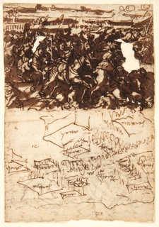 Vertical rectangle. Verso, top: Battle scene, with men on horseback moving toward the right; below: topographical sketch. Recto: sketch of walled-in sea area at Ostend.