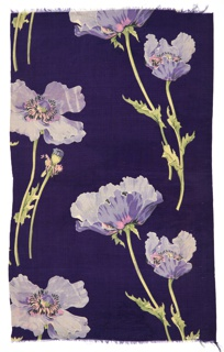 Purple ground with print of poppies and foliage in purple, rose, black and green.