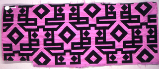 Sample of pink taffeta with a large-scale geometric and linear design in black cut velvet.