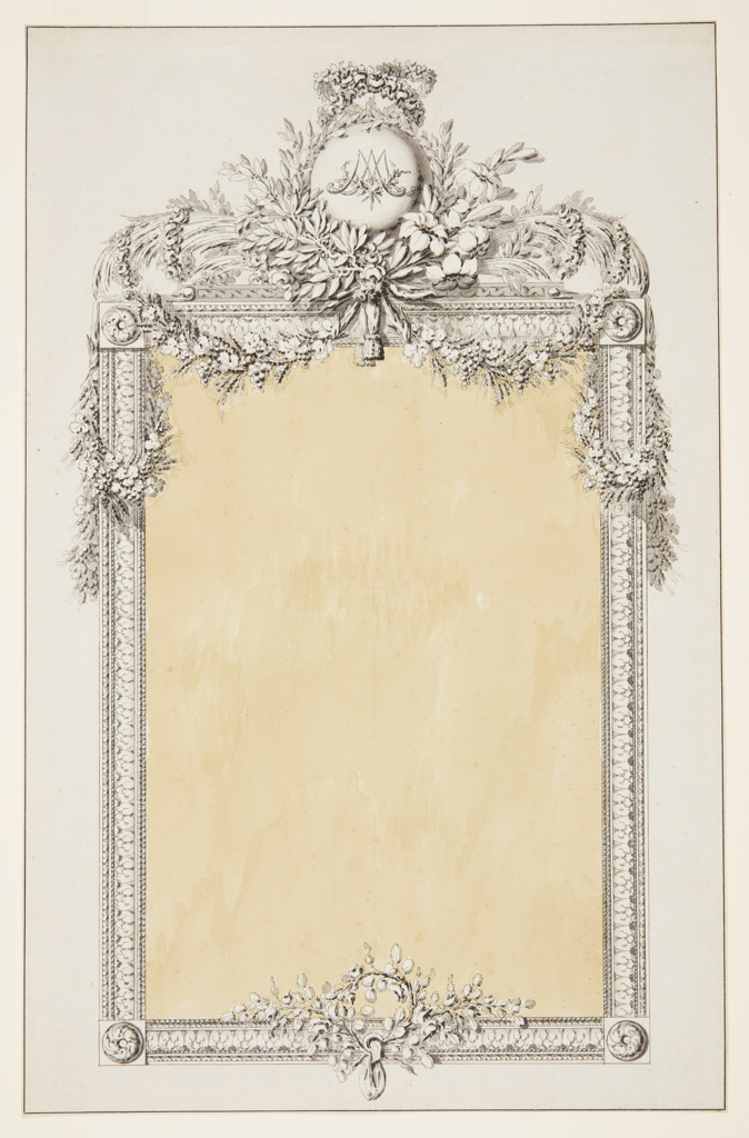 Drawing, Design for a Mirror Frame with Monogram of Marie-Antoinette