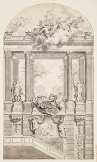 Drawing in three registers. Palace courtyard visible through Corinthean portico. In left niche, Apollo; at center, Abundance and attendants; at right, Diana. Top register, figures amidst clouds. Bottom register, Daphne and Apollo between caryatids.