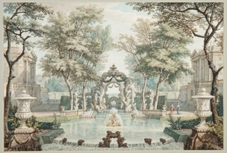Imaginary classical setting.  Fountain in pool at center of composition.  Three upside-down entwined dolphins support central jet.  Behind, on left and right, two reclinging figures with urns of water pouring into the pool.  Surrounding the pool are symmetrical arrangements of trees, terraces, and classical buildings.  Two female figures stand on terrace at right.