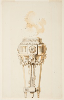 Smoke rises from the incense burner on a stand, which is decorated with a fluted band and rosettes, female heads connected by fruit festoons.  A serpent rises from the base of the stand which terminates on ball feet.