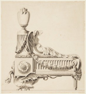 Shown from side: half-figure of a harpy entwined in garlands, leaning against a pedastal which holds an urn.  A dragon serves as the lower left leg of the andiron.