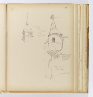 Vertical sheet with two sketches of architectural elements.  At left is a short tower rising from a roofline.  The tower has flattened double arches which are louvered, an an ogee cupola faceted steeple with finial and weathervane above.  At right is the corner of a building ending in a gabled roof that has only been partially rendered.  At the corner of the roof is a gutter and turret with a small window, and lower roof with window below it.