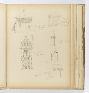 Vertical sheet with five sketches of buildings and architectural elements.  Clockwise from top right is a tiled dormer from Loches. Below this is a small open belfry with a narrow, pitched roof supported on two narrow posts, also from Loches.  Below this is a masonry belfry attached to a round turret supported by stone modillions below.  A bell is visible in the belfry, and it is topped by a cupola with finial flying a flag.  To the left of this is portion of a façade elevation of a masonry building in a late Renaissance style.  The elevation consists of four stories, each of which has a double arcade (door openings at the ground level with windows repeated in the arcade above).  Above this sketch is the elevation of a building exterior with a portico at the second floor from which descends a curved masonry staircase to the ground below.