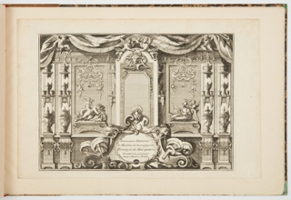 The book consists of eight sheets showing a variety of printed designs for metalwork including andirons, bronzes, candlesticks and clocks, with additional  designs for furniture, including chests of drawers, tables, desks and desk accessories, and pedestals.