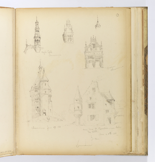 Vertical sheet illustrating six sketches of buildings or architectural ornaments from Chenonceaux and Beaulieu.  The upper half of the sheet contains four drawings.  From left is a Renaissance style cupola consisting of three arcaded loggias culminating in a cross finial.  The lowest loggia has the tallest arches, between which can be seen a bell. To the right of this is a small sketch of a window and dormer, the dormer having a very high projecting pediment and small flame-like finials on top of it and to the left and right.  To the right of this is a very elaborate dormer, its upper windowed section supported at left and right by two cusped, round-arched buttresses.  Above this is a very small drawing of a cupola and its finial.  The bottom half of the sheet illustrates two complete buildings as opposed to their elements.  At bottom left is a large tower consisting of a group of turrets massed together.  At right is a house seen from the corner, a single turret visible at the left corner, and the peaked roof another seen at right.  A small plan of this structure is drawn below the elevation.