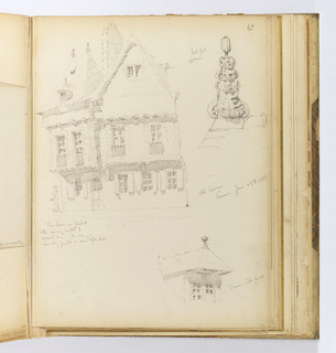 Vertical sheet illustrating three sketches of buildings and architectural elements.  Clockwise from top right is a finial created by four layers of oak leaves attached in gradually smaller tiers cuving upward against a pillar.  Below this is a small dormer with simple ball finial, and at left is the largest sketch on the page, an elevation of medieval or Renaissance-period house seen from a corner.  The house has a slightly overhanging second story and visible beams below the steeply pitched roof.  The roof on its left side has two ball finials at either end and a small dormer at its eave below.  The windows have small balconies made of crossed uprights.