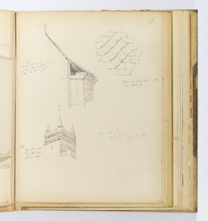Vertical sheet containing three sketches of buildings and architectural features.  Above right is a detailed drawing of an ornamental design in a slate roof.  The roof tiles are mainly rectangular, however in this section they are diamond-shaped but with an ogee outline and arranged three across to make a diamond pattern.  To the left of this is the side elevation of a masonry structure that has a break in its roof eave that lays on top of small beams laid on top of one another above a small wooden shed-like projection.  Below this is the top of a large, square tower with crocketed spires at each corner and a tracery arcade below its roofline.