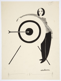 Drawing, Woman Standing by a Target, An Arrow in the Bull's Eye
