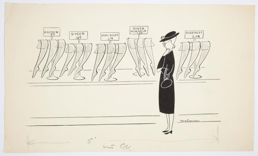 Drawing, Woman at a Stocking Counter