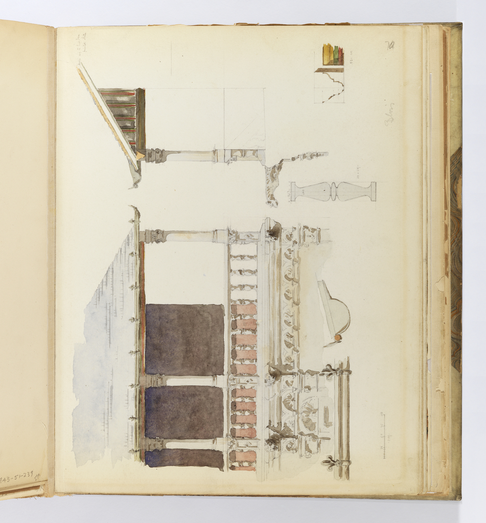 Horizontal sheet tipped vertically  into binding, depicting a scaled drawing of the upper story of a building's balcony or loggia seen in elevation and in section, and various parts of it seen in profile.  At left the elevation of the loggia consists of an entablature from the story below supporting a balustrade, likely of white stone or painted wood, upon which stand three ionic columns which then support a slate roof with a gutter of decorative fleurs-de-lys. Below this the gutter is seen in detail, and then also in profile.  The right half of the sheet shows the loggia in section, the underside of its roof beams painted alternating shades of ochre yellow, forest green, and brick red.  Below this is a detailed drawing of one of the balusters, and to the right of this sketch is a view in section and in profile of the painted roof beams.