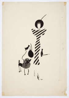 Drawing, Woman Strolling with Black Poodle