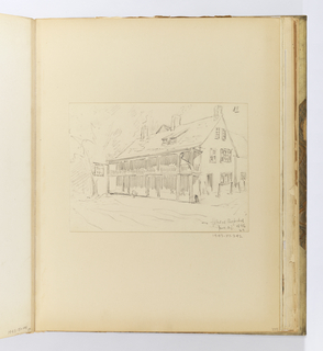 Horizontal sheet pasted onto a larger sheet tipped into binding.  The sheet illustrates a large rectangular timber building with a two story porch covering the entire front façade.  The front of the roof faces the viewer and contains two small dormers on the right side, and there are three chimneys: one at each side and one in the center.  On the right side of the building are two hitching posts.  At the front left corner of the building is a small sign hanging from a bracket.