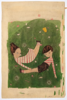 Two children—a girl and a boy—wearing striped pink and white clothing laying on grass with drowsy expressions.