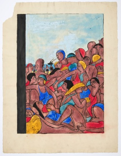A throng of tanned people wearing blue, yellow and red bathing wear, all vying for a spot on the beach, which is not visible; in the background, a black ship on the water.