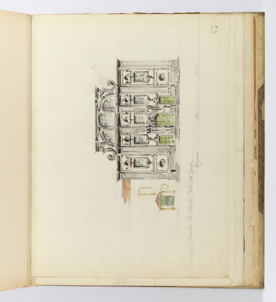 Horizontal sheet tipped vertically into binding illustrating a three-story gray and white stone buliding in the Baroque style.  The elevation consists of a central block divided into three equal parts by engaged columns that extend the height of the first and second stories.  There is a green, flat-arched paneled door in the center flanked by a similar, smaller door on either side.  The small wings along each side of the central block have two small round windows at the first floor level, and then repeat the fenestration of the central block: rectangular windows with small circular windows above.  The second story is almost entirely glass.  Inscriptions are written below the drawing on ruled lines.