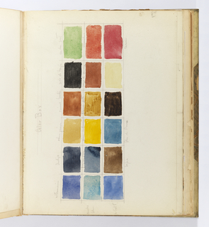 Horizontal sheet tipped vertically into binding depicting three rows of rectangular patches of watercolor arranged into six columns, inscribed by graphite lines, creating a painter's palette complete with inscriptions of the various colors represented, including: ultramarine, indigo, vermilion, sepia, and Prussian blue.  These same colors are used throughout the watercolors in Warren's sketches.