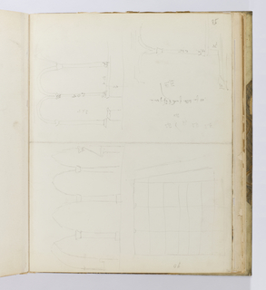 Horizontal sheet tipped vertically into binding.  It was once folded and has a large crease line down the center of the sheet, dividing it into two halves.  The left side has two registers of sketches; above is a quick sketch of an arcade, while below is a grid of lines.  The right side is also divided into two registers: the upper sketch also illustrates a section of an arcade in elevation quickly sketched, but the various components parts of the arcade are identified by dimensions.  This is repeated for one bay in the bottom register, again with many notations about dimensions as well as inscriptions that appear unrelated to the sketches.