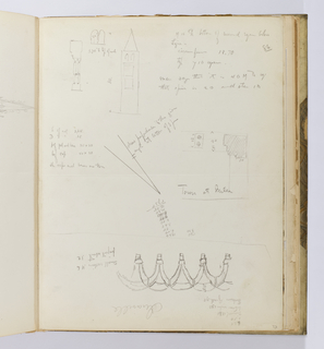 Vertical sheet that was once folded in half and has a crease across the page which creates two registers occupied by sketches and notations.  The upper half contains a small sketch of engaged columns, a double arch lancet, and a campanile with many inscriptions below and to the right.  The lower half of the sheet contains a sketch of vaulting seen in elevation but drawn upside down on the sheet relative to its orientation in the album.  Sketched across the crease is a small plan, possibly of the campanile in Milan, according to the notation.  All drawings on the sheet contain dimensions. The verso of the sheet contains a drawing in plan on the lower half of an octagonal tile floor in the bedroom of Dianne de Poitiers in the Chateau de Chaumont. This side of the sheet also contains small sections of calculations.