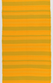 Length in stripes of yellow, orange and green. Same material as 1967-57-1, but the yellow dye bonded with different mordants to produce different colors.