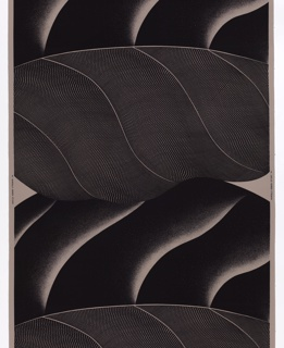 Enormous blowup of a leaf. Shaded rolling shapes. Black on grey. Pattern measures 133 cm (52 1/4in) leaving a margin at each side.