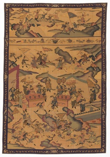 Pictorial panel showing a competition between men on horses and men on foot brandishing swords or spears in a rocky landscape. Each side is observed and encouraged by its leaders, each seated behind a table. The contest continues beyond the leaders and has figures rendered in muted shades of purple, blue, and violet. A narrow border with a vine and blossoms and bats on a purple ground is continuous on all four sides. Four sides are trimmed with ivory satin.