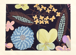 Pattern of wild flowers in mauve, orange, yellow, teal, and blue on black ground.