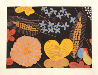 Pattern of wild flowers in orange, yellow, and blue on black ground.