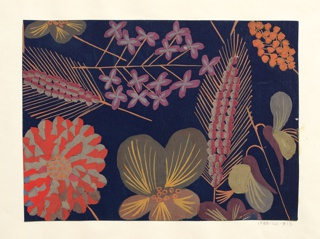 Pattern of wild flowers in orange, yellow, purple, and blue on blue ground.