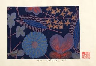 Pattern of wild flowers in orange, blue, red on blue ground.