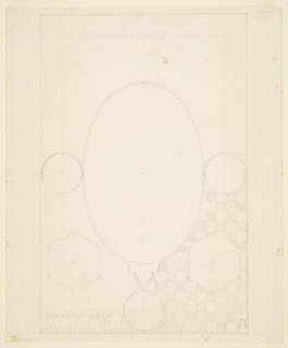 Vertical rectangle. Large vertical oval flanked by four circles and two hectagons. Checkerboard pattern sketched in at upper left and frieze at upper right.
