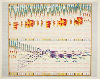 """Multicolored drawing of transcription of Wagner's """"The Magic Fire-Scene."""" Based on John De Cesare's """"Theory of Visual Space in Music,"""" this drawing translates musical notes for sound to """"musical notes for space"""" in order to illustrate a visual dimension of music."""