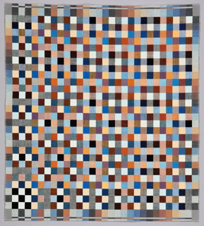Small scale checkerboard pattern in multiple solid and mixed colors, using close values and hues to create optical illusions at various distances.