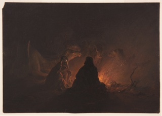 Drawing, Bedouins in Camp at Night