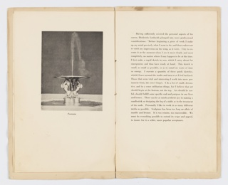 """Left, printed photograph depicting """"Fountain"""" designed by William Hunt Diederich. The base of the fountain depicts three rearing horses; Right, page layout for text."""