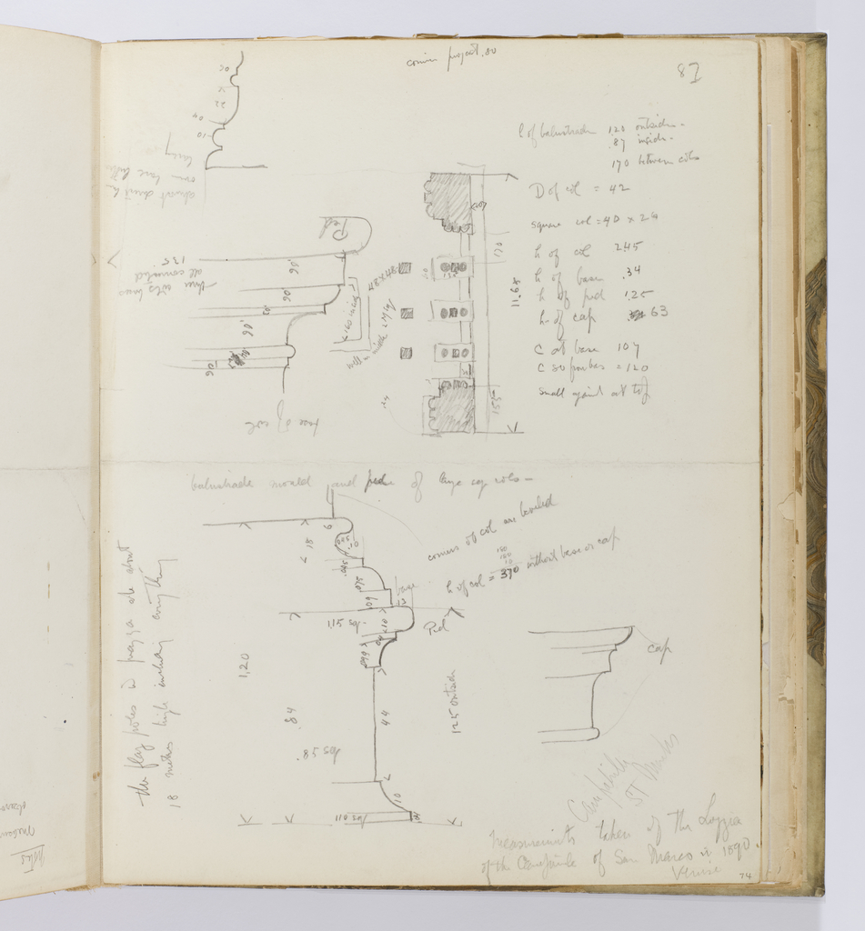 Vertical sheet with crease across center creating an upper and lower section of sheet.  The upper section consists of the plan of a balustrade and scaled drawing of a portion of a molding in profile.  Below this is another scaled drawing of a moulding and column cap seen in profile.  Both sketches have many inscriptions with dimensions and distances between each of the various elements in the sketches.