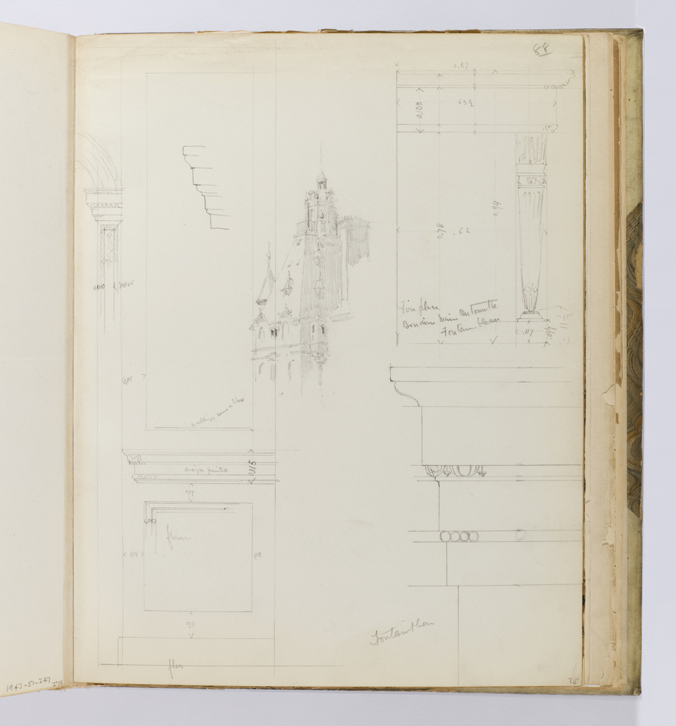Vertical sheet with a variety of sketches: engaged columns, molding profiles, a scaled drawing of a fireplace elevation and a three-quarter view of a lighlyt rendered mansard roof buliding.  Possibly also at bottom left is part of a scaled wall elevation.  There are many inscriptions with dimenions of certain elements of the drawings.
