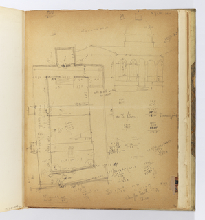 Vertical sheet, possibly the end- or flyleaf of a book, with crease across center.  Recto, at left is plan of a rectangular building.  Above right is possibly the same building seen in elevation with a colonnade, low roof, and dome in the center.  The rest of the sheet is covered with dimensions and calculations. Verso consists of smaller sketches: plans and arcade elevations with many measurements of dimensions.