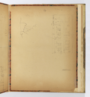 Vertical sheet, possibly the end- or flyleaf from a book.  Sheet has a quick drawing of an interior elevation with many windows or framed objects on the walls and an arched opening at the lower left.  On the left side of the page is a scaled drawing of a molding in profile.  Both drawings have small inscriptions with measurements and dimensions.