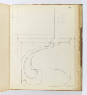 Vertical sheet illustrating a single scroll bracket seen in profile and in elevation.  In profile the scroll is seen to rest against a small circular element that separates it from the surface behind.  The sheet has horizontal crease lines that create four sections. The verso has two very light sketches of flower and diamond tile pavement designs.
